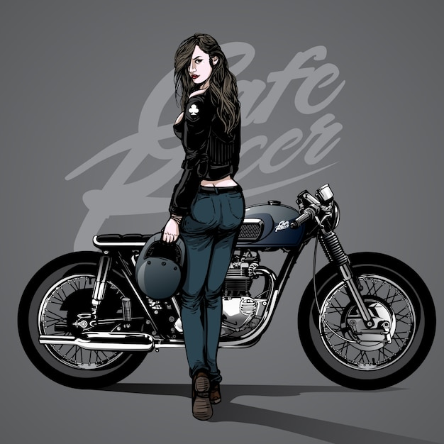 Nice Girl Wallpaper Download Hand Drawn Sexy Girl With Motorcycle Background Vector