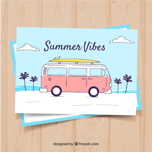 Hand drawn summer card template with retro bus Vector Free Download - bus pass template