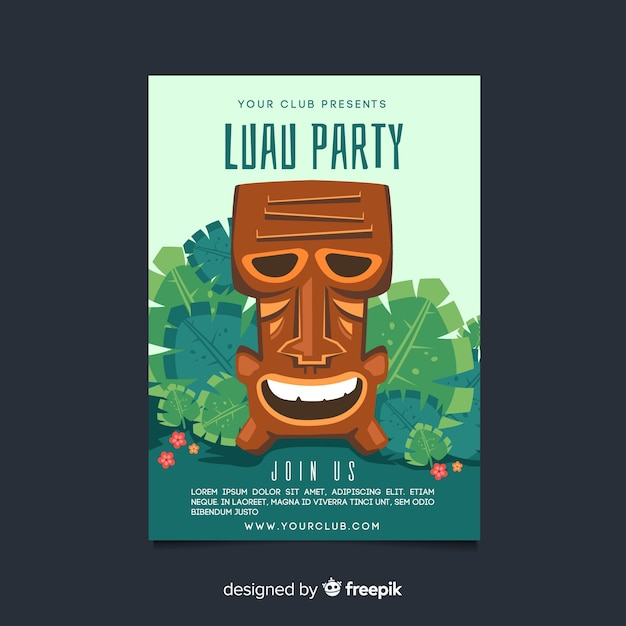 Hand drawn tiki mask luau party poster template Vector Free Download
