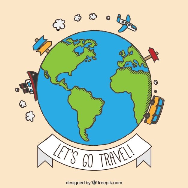 Hand drawn trave around the world background Vector Free Download