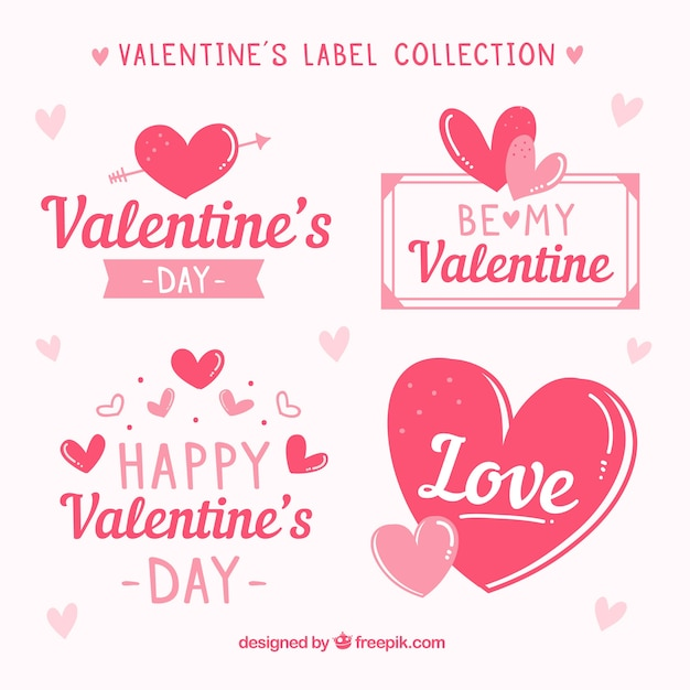 Hand drawn valentine\u0027s day label/badge collection Vector Free Download