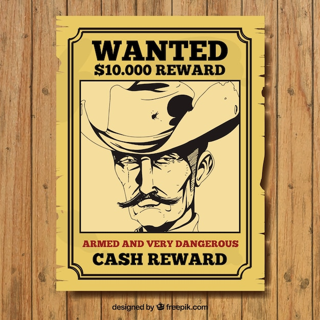 Hand-drawn wanted poster of criminal in vintage style Vector Free - criminal wanted poster