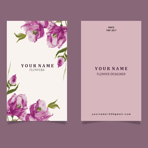 Hand drawn watercolor purple flower visiting card Vector Premium