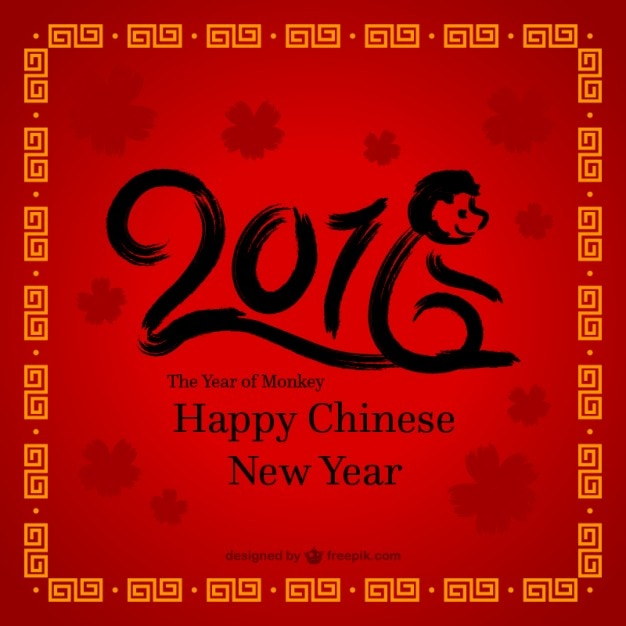 Hand paint happy chinese new year Vector Free Download