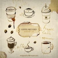 Hand painted coffee sketches Vector | Free Download