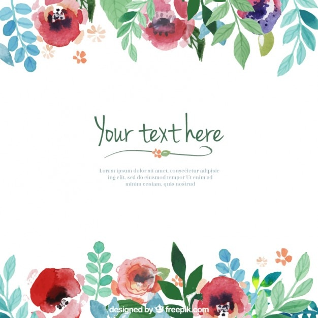 Hand painted flowers template Vector Free Download