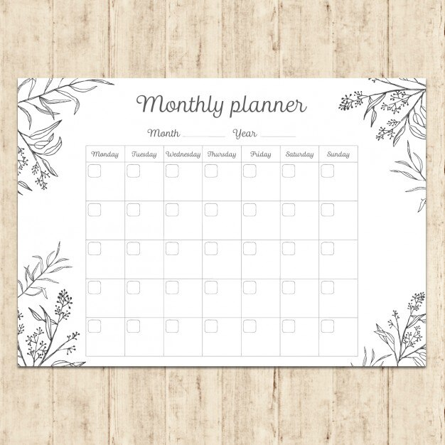 Hand painted monthly planner Vector Free Download