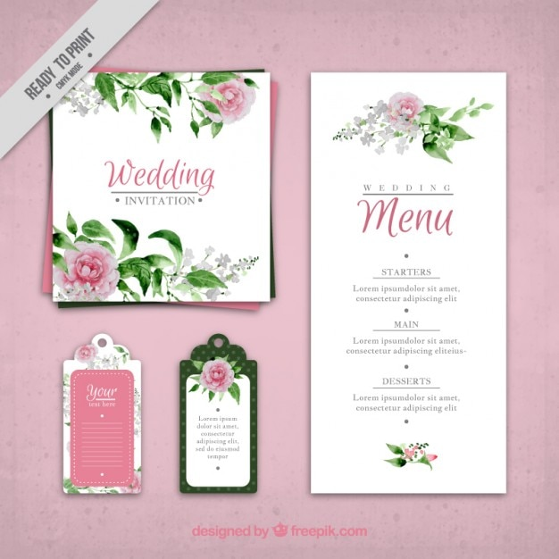 Hand painted roses wedding invitation and menu template Vector