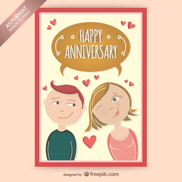 Happy anniversary card with couple in love Vector Free Download