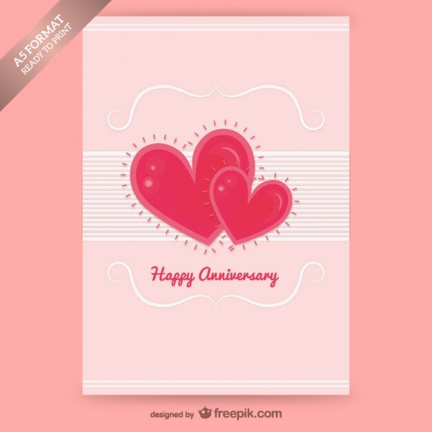 Happy anniversary card with hearts Vector Free Download - print anniversary card
