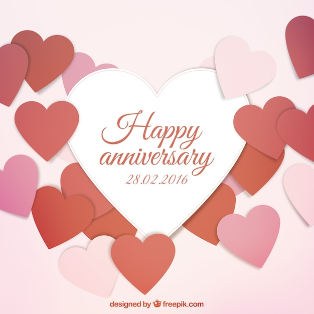 Happy anniversary card Vector Free Download
