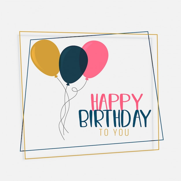 Happy birthday card design with flat color balloons Vector Free