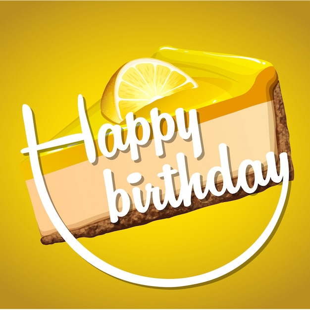 Happy birthday card template with lemon cheesecake Vector Free - free birthday card template word
