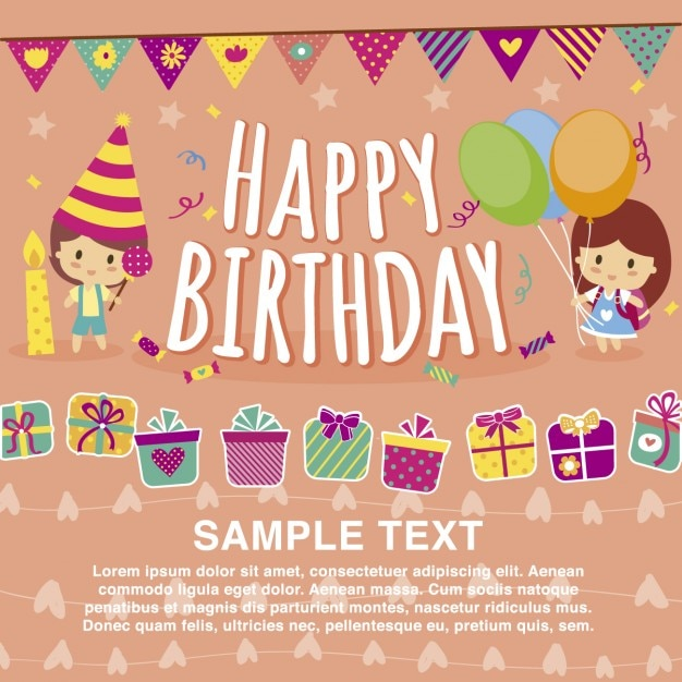 Happy birthday card template Vector Free Download - Birthday Card Sample