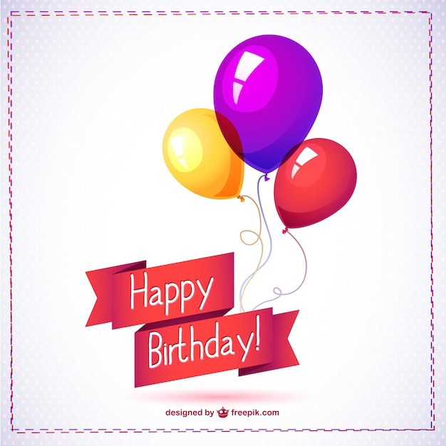 Happy birthday card with balloons Vector Free Download