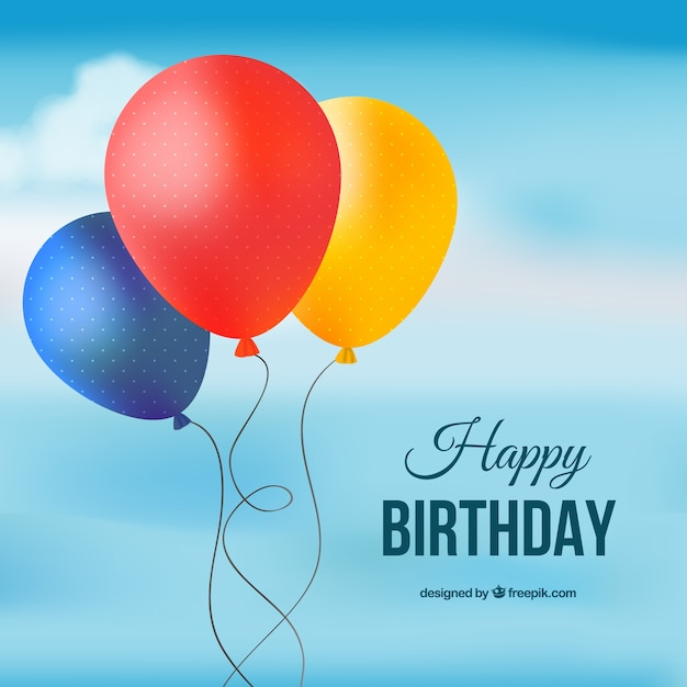 Happy birthday card with colored balloons Vector Free Download