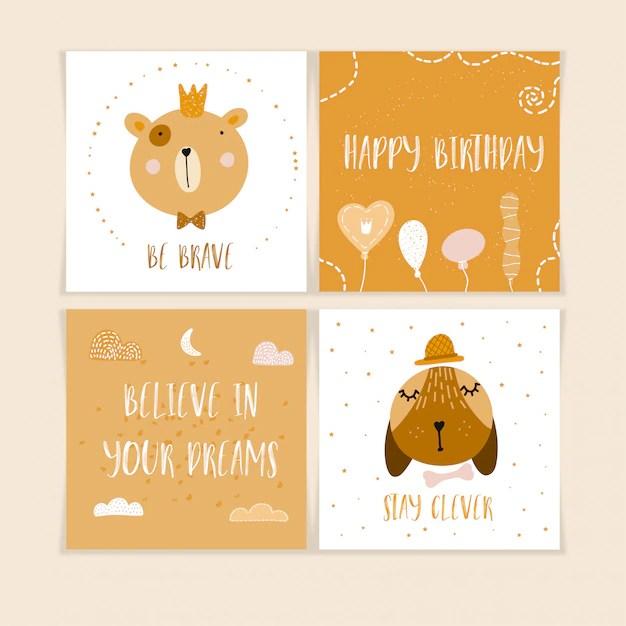 Happy birthday postcards with cute animals Vector Premium Download