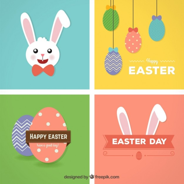 Happy easter cards Vector Free Download