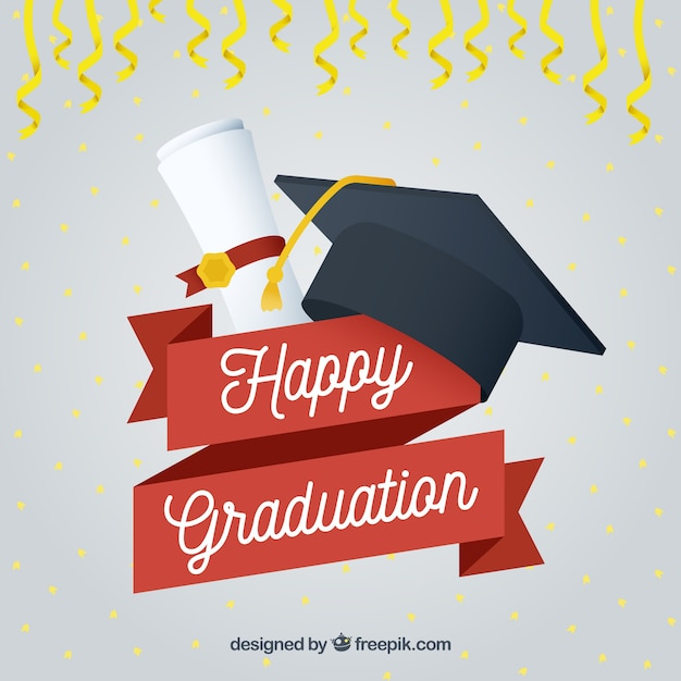 Happy graduation background with cap and diploma Vector Free Download