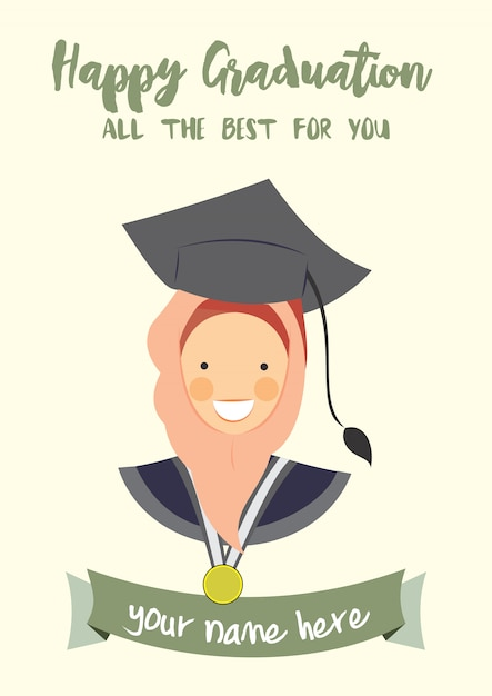 Happy graduation congratulation template card Vector Premium Download