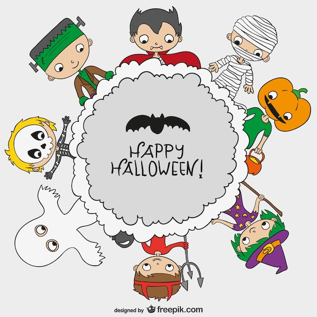 Skeleton Pattern Wallpaper Cute Happy Halloween Background With Kids Vector Free Download