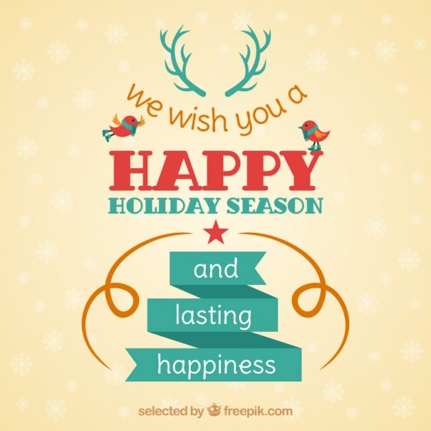 Happy holiday season card Vector Free Download - free images happy holidays