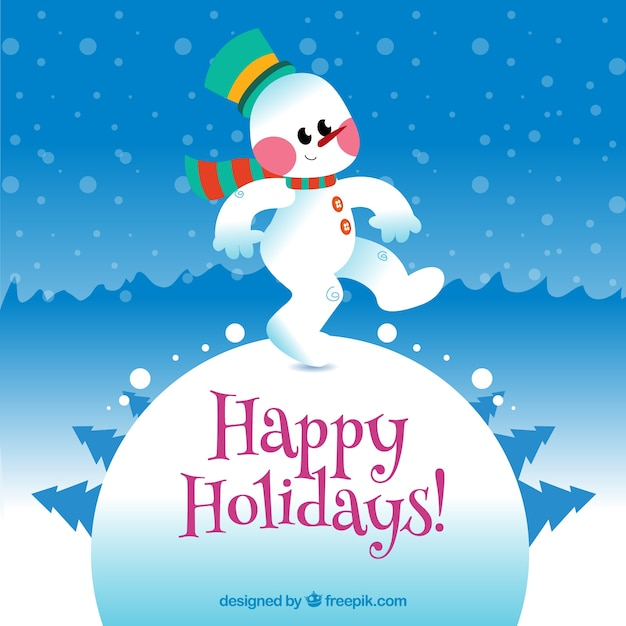Happy holidays card with a funny snowman Vector Free Download - free images happy holidays