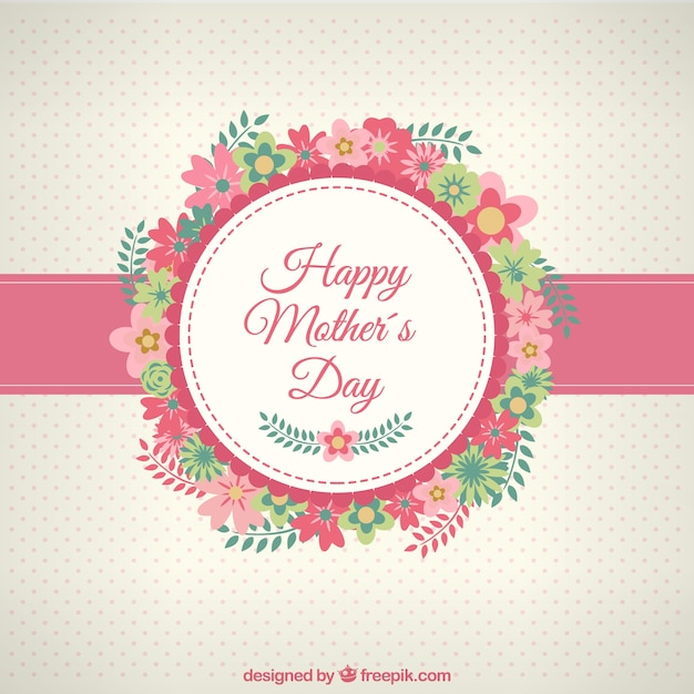 Happy mothers day card with flowers Vector Free Download - Mother S Day Cards