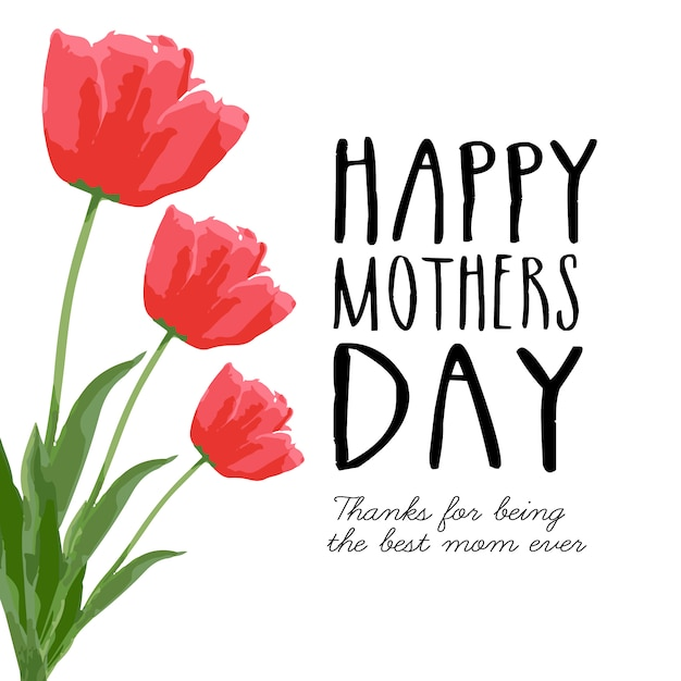 Happy mothers day card with roses Vector Free Download - Mother S Day Cards