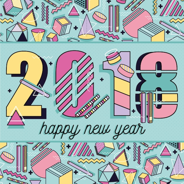 Happy new year 2018 memphis style template abstract frame with