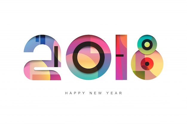 Happy New Year 2018 text design  Greeting card design template 2018