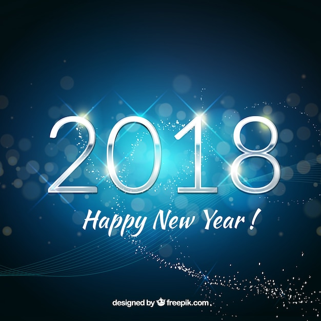 Happy new year background 2018 in blue tones Vector Free Download
