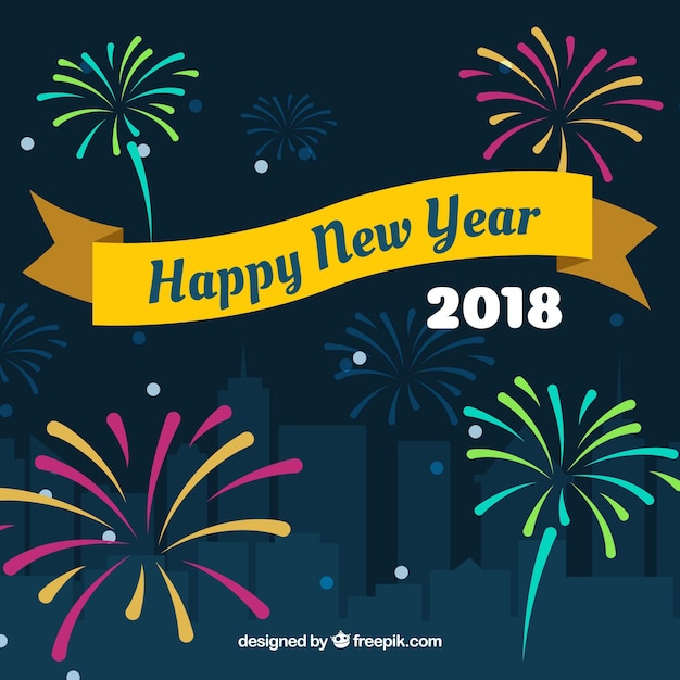 Happy new year background 2018 with fireworks Vector Free Download