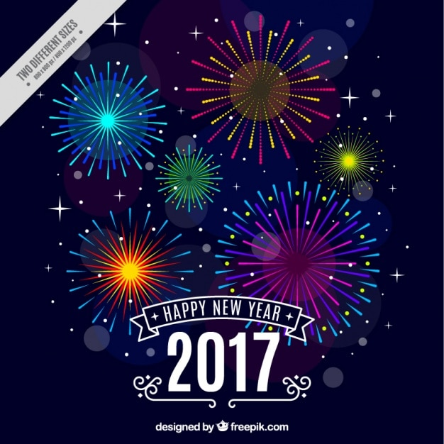 Happy new year background with colorful fireworks Vector Free Download