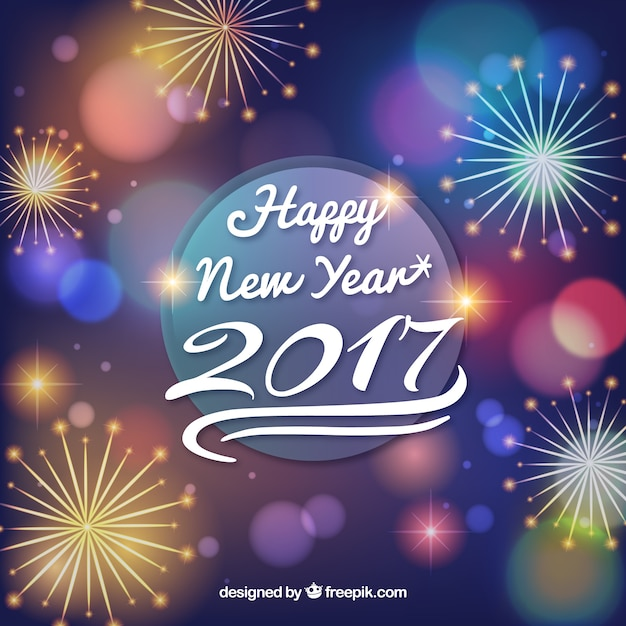 Happy new year background with fireworks Vector Free Download