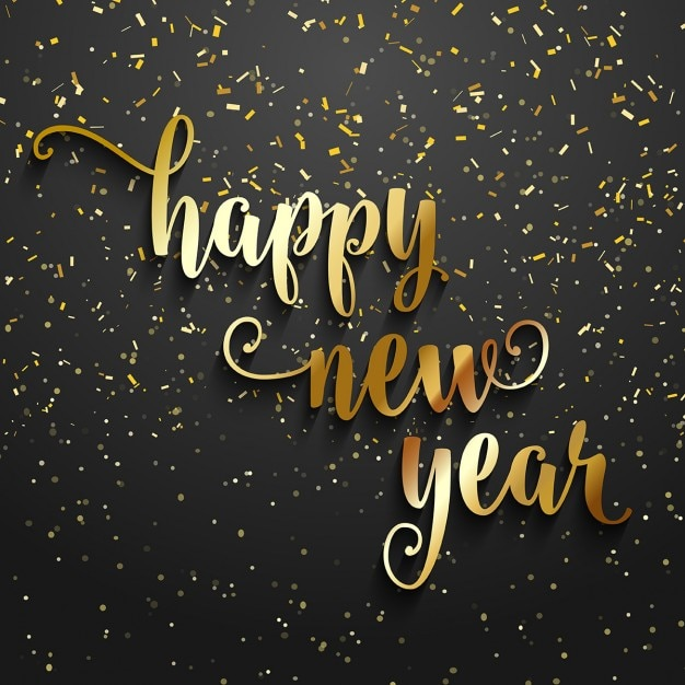 Happy new year background with golden confetti Vector Free Download