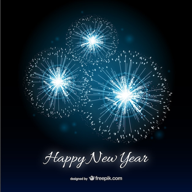 Happy New Year card with fireworks Vector Free Download