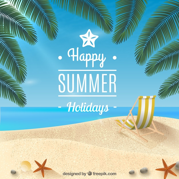 Happy summer holidays background Vector Free Download