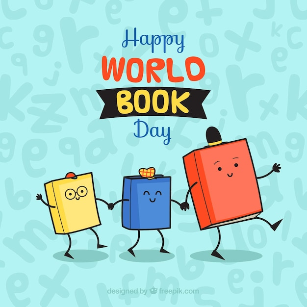 Happy world book day background with cute animated books Vector