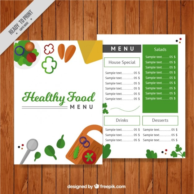 Healthy food menu template Vector Free Download - food menu template