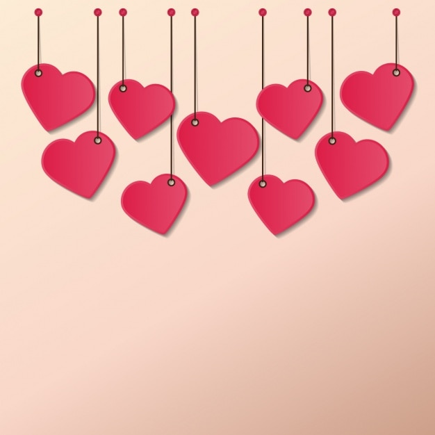 Hearts hanging ropes Vector Free Download
