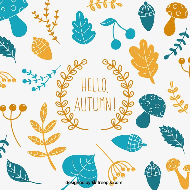 Happy Fall Wallpaper Iphone Hello Autumn Background With Natural Elements Vector