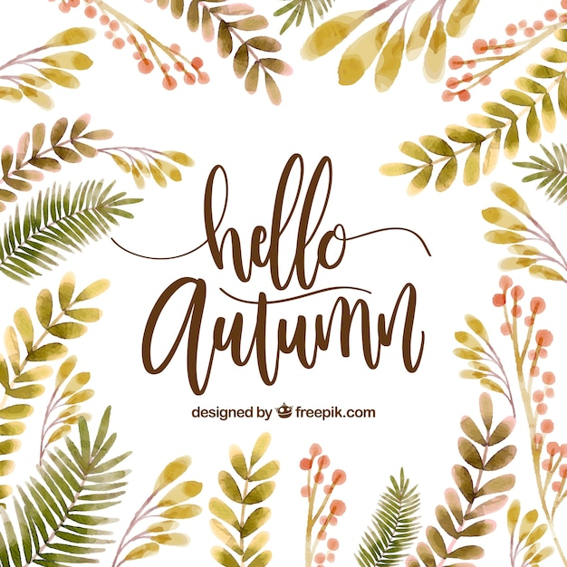 Fall Patterns Wallpaper Hello Autumn Background With Watercolor Leaves Vector