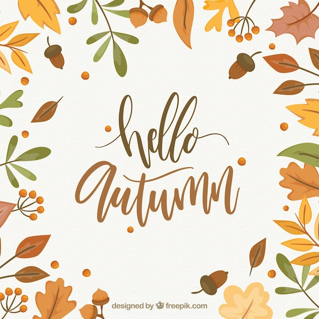 Free Computer Wallpaper Fall Leaves Hello Autumn Background Vector Free Download