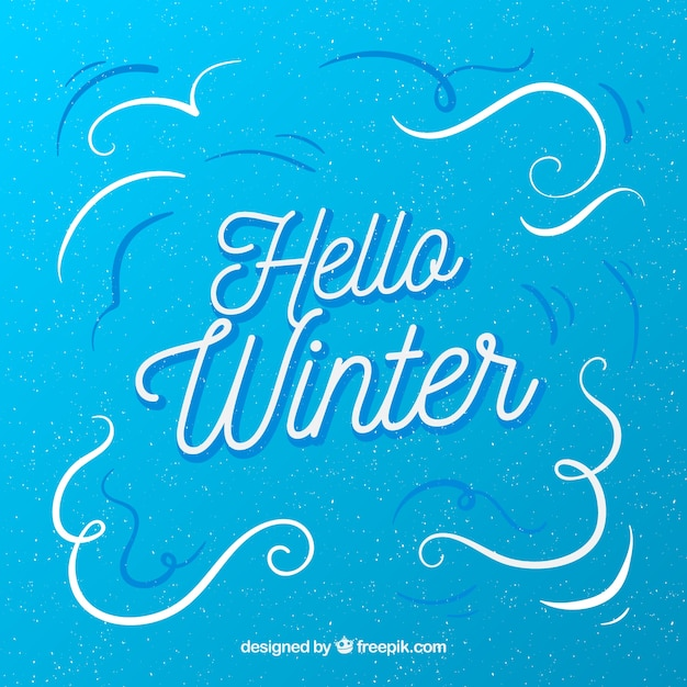 Hello winter simple blue background Vector Free Download