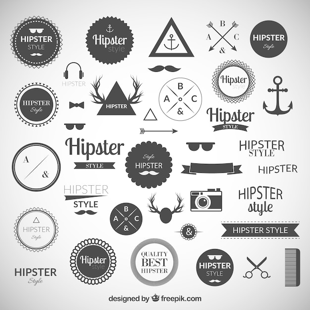 Hipster logos collection Vector Free Download - hipster logo template