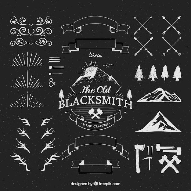 Hipster logos ornaments Vector Free Download - hipster logo template