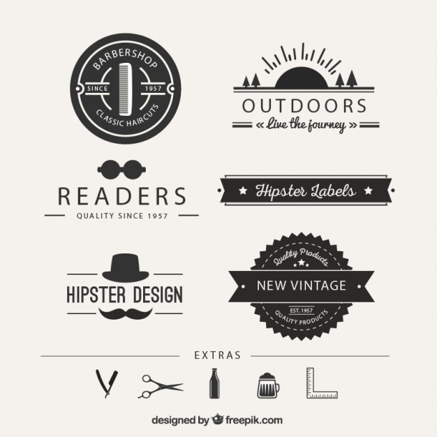 Hipster logos Vector Free Download