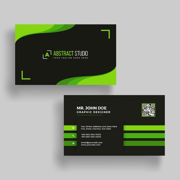 Horizontal green and black business card with front and back