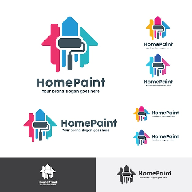 Logo Peinture Decoration House Paint Logo, Home Decoration Company Identity Vector